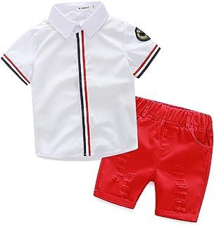 Baby Boy Casual Clothing Set Beige Green Print Button-Down Shirt Short Sleeve+White Pants