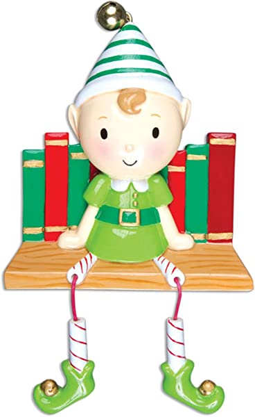 Personalized Elf On Books Christmas Tree Ornament 2019 Cute Traditional Santa Helper The Shelf Dangling Legs Child Grand Son Kid Character North Pole Pixie Gift Year Free Customization