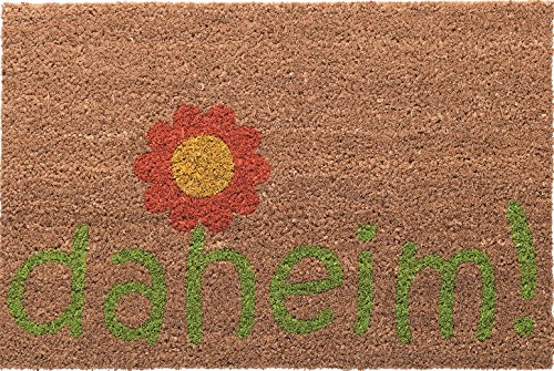 Betz paillasson rectangulaire coloré de 40 x 60 cm essuie-Pieds Tapis en Fibre de Coco avec Une Fleur et Une Inscription daheim !
