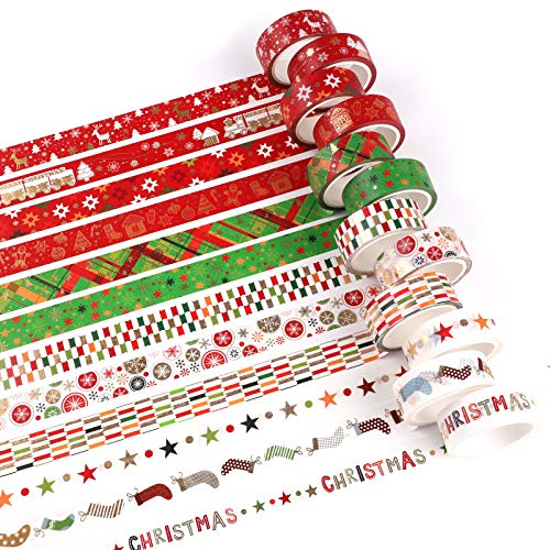 12 Rollo Cintas Adhesivas Washi Tape,cinta washi de Navidad Cinta Washi Cinta Adhesiva Decorativa Navidad Washi tape set cinta decorativa Washi adhesiva decorativa de Navidad para decoraciones Navidad