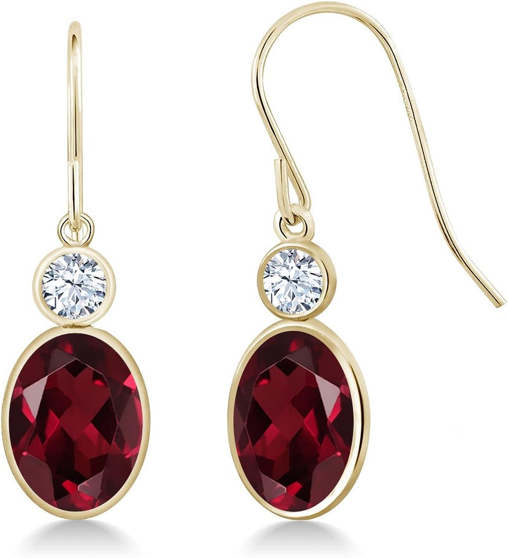 3.02 Ct Oval Red Rhodolite Garnet 14K Yellow gold Earrings
