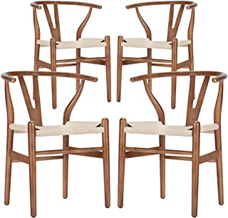 Wishbone Chair - Wooden Dining Chair - Mid Century Style - Inspired by Hans Wegner (4, Walnut & Natural Seat)