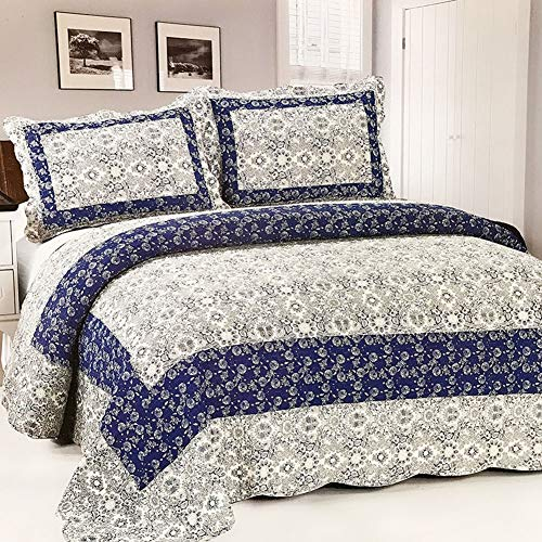 YADLCR All Season Bedspread Quilted Double Bed Lightweight Vintage Style Patchwork Quilts Coverlets Bed Throws with 2 Pillowcases (Color : A19, Size : 225x245cm)