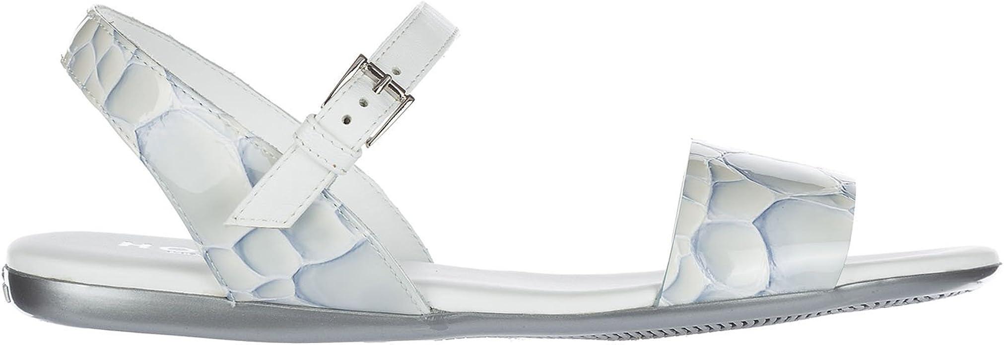 Amazon.com | Hogan Women Sandals Celeste Medio/Bianco 6 US | Sandals