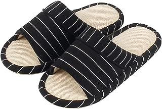 Garatia Men Open Toe House Slippers Cotton Linen Washable Memory Foam Indoor Sandals