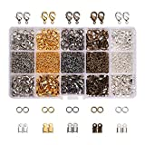 PandaHall Elite About 1800 Pcs Jewelry Finding Kits with Cord Ends, Lobster Claw Clasps and Jump Rings for...