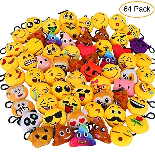 Aiduy 64pcs Mini Emoji Juguete de Peluche, Encantador Llavero Emoticonos para Niños & Adulto, Fiesta Cumpleaños Favores Bolso Partido Decoraciones (5cm)