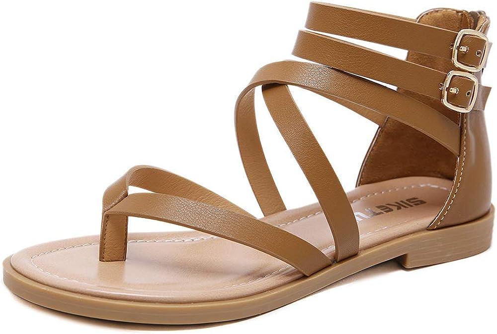 SHIBEVER Women Gladiator Sandals Summer Beach Thong Flat Roman F