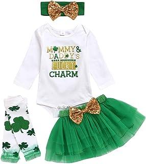 PRETYZOOM, PRETYZOOM Disfraz de San Patricio para el día de San Patricio, con estampado de letras, vestido de tutú verde, con cinta para la cabeza, calentador de piernas para recién nacidos, 80 cm