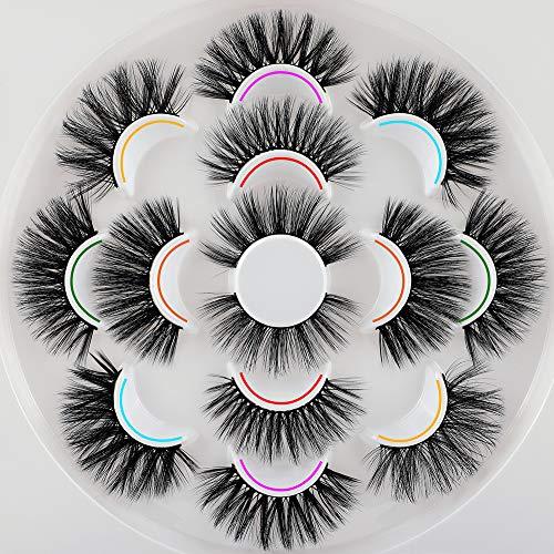 Ruairie 20mm Lashes, False Eyelashes Fluffy Volume Long Fake Eyelashes 7 Styles False Lashes Pack