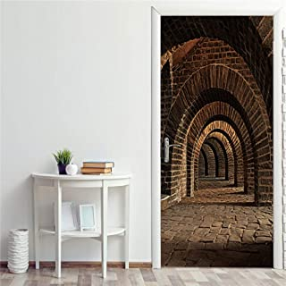 Décoration De La Maison Autocollant De Porte Auto-Adhésif Stone Cave Corridor 3D Papier Peint Affiches Décoration