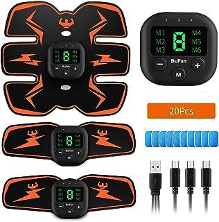 BuFan Electroestimulador Muscular Abdominales, 6 Modos y 10 Niveles de Intensidad EMS Estimulador Muscular con 20 PCS Reemplazo Gel Pad para Abdomen/Cintura/Pierna/Brazo