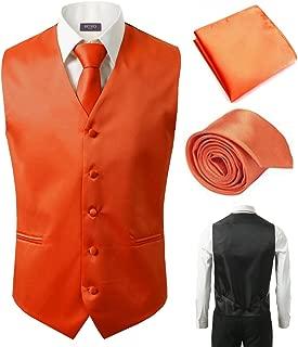 3 Pcs Vest + Tie + Hankie Orange Fashion Men's Formal Dress Suit Waistcoat