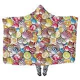Hooded Blanket 40 x 50 Inch, Wearable Blanket Colorful Home Decor Wearable Blanket Adult Women Men Kids Wearable Blanket Spiral Sugar Candy Sweets Lolly Pops Dessert Fun Girls Kids Nursery Theme