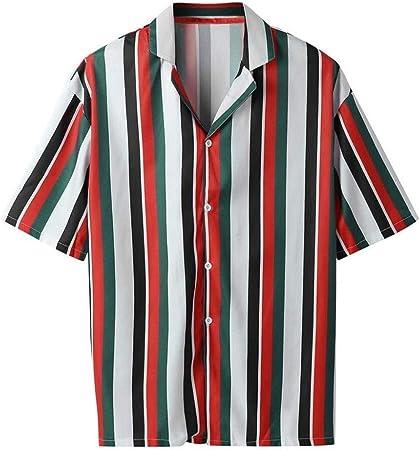YWAWJ Retro Camisas rayadas de la Camisa Hawaiana de Verano ...