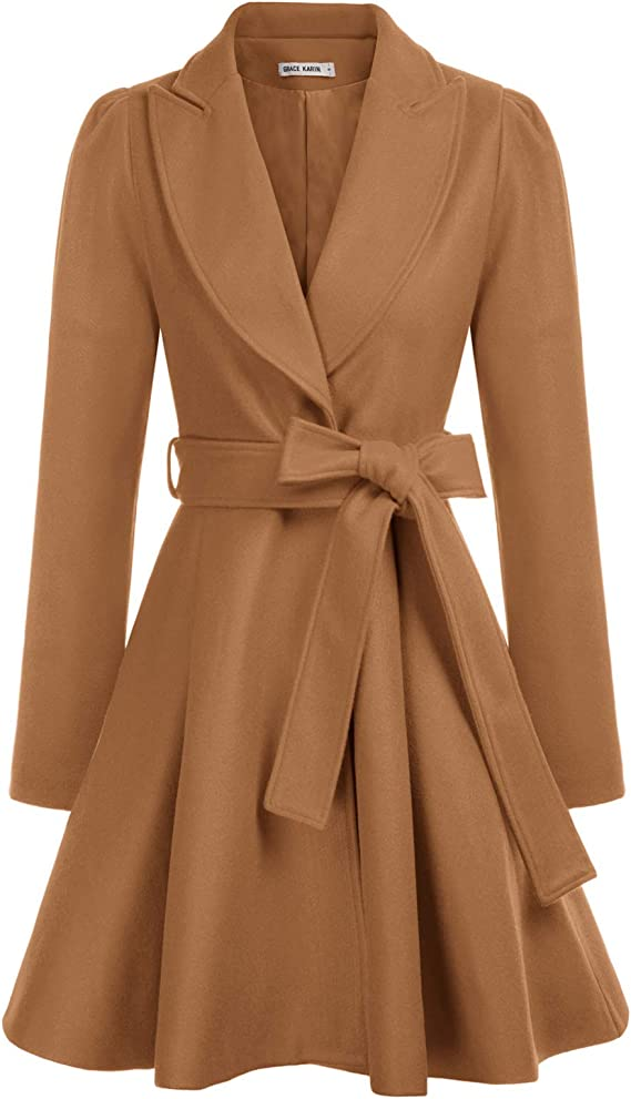 1950s Coats and Jackets History Womens Notch Lapel Long Sleeve a Line Pea Coat with Self Tie Belt  AT vintagedancer.com