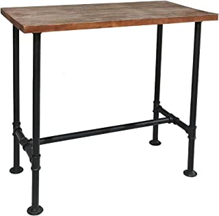Diwhy DIY Industrial Design Pipe Dining Table Casual Computer Laptop Table Modern Studio Wood and Metal Rectangular Dining Table homeoffice Desk Computer Table Black (41.3 H)