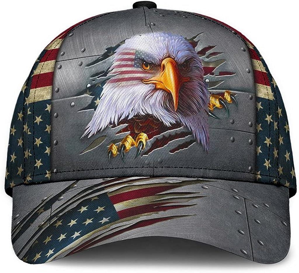 Personalized Name 3D Printed Unisex Cap Hat Eagle Proud American Flag Classic Cap Text Name Customized Classic Cap Snapback Cap Baseball Cap for Men Women Sports Outdoor
