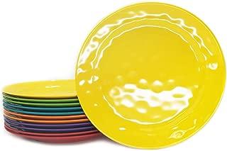 Melamine Plates set -10inch 12pcs 100% Melamine Dinner Plates for Everyday Use, Break-resistant and Lightweight, Multi Color