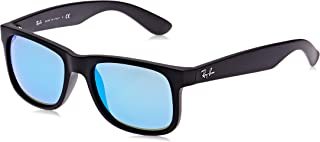 RAY-BAN RB4165 Justin Rectangular Sunglasses, Black Rubber/Blue Mirror, 51 mm
