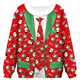 FEDBNET Suéteres feos Unisex de Navidad Jerseys, código de Navidad Impresión de código Cuello Redondo Jersey suéter Marea Suelta Camisa Casual de Manga Larga para Hombres Mujeres