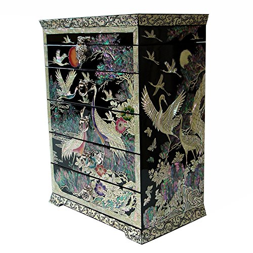 Mother of Pearl Inlay Art Bird Pine Tree Lacquer Wood Drawer Standing Jewelry Trinket Treasure Box Chest