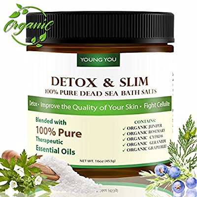 Dead Sea Bath Salt – Organic Detox Mineral Body Soak - Reduce Cellulite, Slim Down, Improve Skin, Circulation by Youngyou International