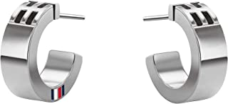 TOMMY HILFIGER WOMEN'S SILVER TH HOOP EARRINGS - 2780416