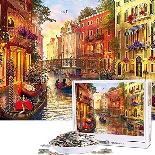 Cuteefun Puzzle per Adulti 1000 Pezzi Puzzle Paesaggio Puzzle Venezia Romantica Puzzle per Bambini Decompressione e Regalo