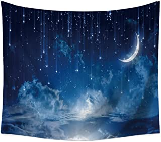 Yangshine Starry Sky Galaxy Wall Tapestry Moon Falling Stars Clouds and Alluring Horizon Mysterious Space Wall Hanging Tapestry Universe Celestial Outer Space Wall Decor (80