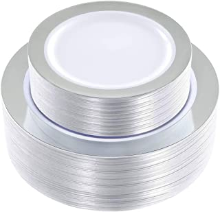 WDF 102 pieces Silver Plastic Plates -Disposable Plastic Plates with Silver Rim -Wedding Party Plates include 51-10.25