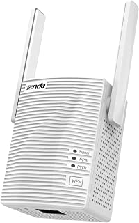 Tenda AC1200 WiFi Range Extender Gigabit WiFi Repeater with 100 Mbps LAN Port, Dual Banda 2.4GHz 300Mbps+5GHz 867Mbps, Hide SSID, WPS Function, Encryption Mode (A18)