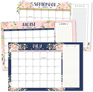 Navy Floral 2019-2020 Large Monthly Desk or Wall Calendar Planner, Big Giant Planning Blotter Pad, 18 Month Academic Desktop, Hanging 2-Year Date Notepad Teacher, Family Home or Business Office 11x17