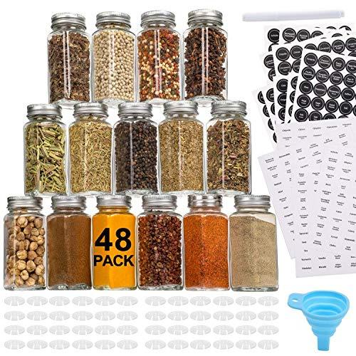 Aozita 48 Stück Glas-Gewürzdosen/Flaschen – leere, quadratische Gewürzbehälter mit 810 Gewürzetiketten – Streuerdeckel und luftdichte Metallkappen – Silikon-Trichter inklusive