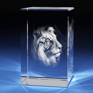 3D Laser Crystal Glass Etched Engrave Paperweight Gifts Lion Animals Portrait XL Transperant Clear NEW