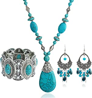 Turquoise 3pcs Set - a Turquoise Necklace a pair of...