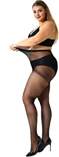 MANZI Women's 2-4 Pairs Control Top Plus Size High Waist Pantyhose Tights