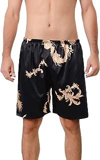 Men's Satin Boxers Underwear Shorts Silk Dragon Luxury Loungewear Pajama Pants