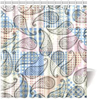 INTERESTPRINT Patchwork with Floral Medallions Paisley House Decor Shower Curtain for Bathroom, Decorative Fabric Bath Curtain Set with Rings, 66(Wide) x 72(Height) Inches