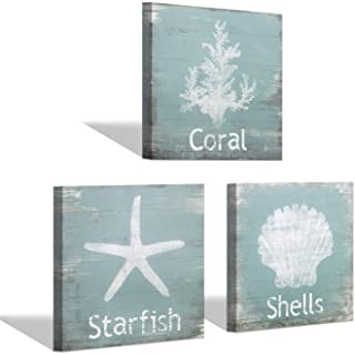 Beach Wall Art Coastal Canvas Paintings Starfish Pictures for Bedroom Ocean Animal Artwork Teal Prints Home Decor for Bath...