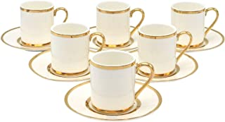 Porcelain Bone China Espresso Turkish Coffee Demitasse Set of 6 Cups + Saucer with Gold Band Borders