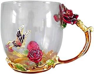 耐熱マグカップ ティーカップ コーヒーカップおしゃれ 花柄 女性 高級コーヒーカップ かわいい バタフライ 薔薇 日常 マグカップ プレゼントに箱付き (ゴールド)