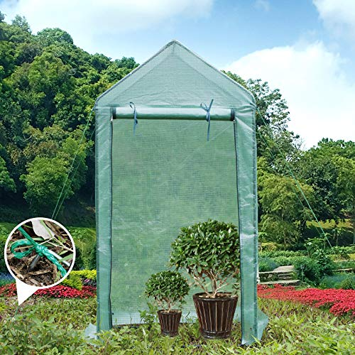 Yorbay Foliengewächshaus Gewächshaus für Tomaten, mit Gitternetzfolie für Garten zur Aufzucht, spitzdach, Grün, 100×50×190cm (LxBxH) Mehrweg