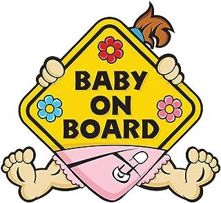BABY ON BOARD Auto Warnaufkleber Abziehbilder Wasserdichte selbstklebende Auto Sicherheitszeichenaufkleber (PATTERN : Baby Girl)