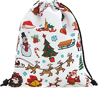 COAFIT Drawstring Backpack Cute Print Gift Bag Party Favor Bag for Christmas