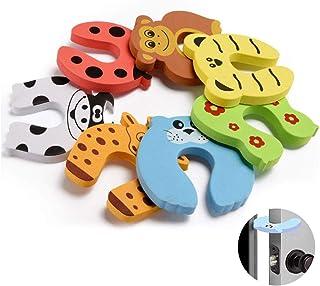Baby Safety Door Stop,Children Cushion Colorful Animal Foam Door Stopper Finger Protector Cute Door Stoppers (10 Pack)