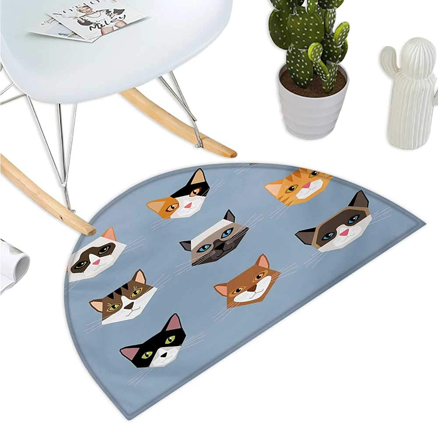 Cat Semicircle Doormat Animal Portrait Set with Cute Kittens Face Whiskers Contemporary Caricature Pattern Entry Door Mat H 39.3  xD 59  Multicolor