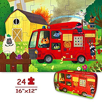 """Puzzles for Kids Ages 4-8 Year Old 24 Pieces Large Fire Truck Kids Jigsaw Puzzles, Professional Preschool Toy Puzzles for Toddlers Boys and Girls –16""""x12"""" with Storage Box"""