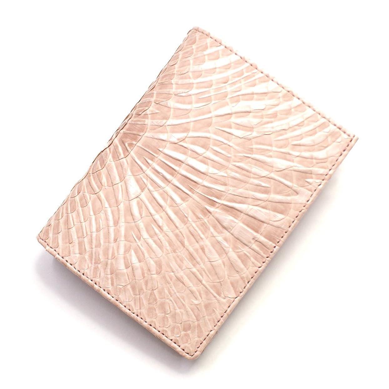 辞書リングレット輸血P-WV1013-PINK 蛇革 財布【パイソン財布】【横向き型】【小銭入れあり】ウェーブ風型押し仕上げ:ピンク