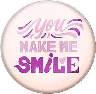 AVI Cream Metal Fridge Magnet with Positive Quotes You Make me Smile Design MR8001175